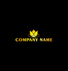 Simple golden floral logo vector