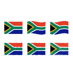 south africa flag set vector image