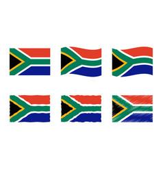 South africa flag set vector