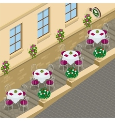 Street cafe Flat 3d isometric vector
