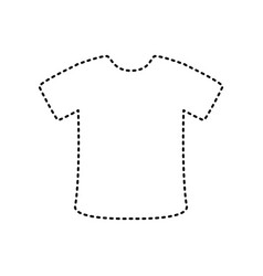 t-shirt sign black dashed icon on white vector image
