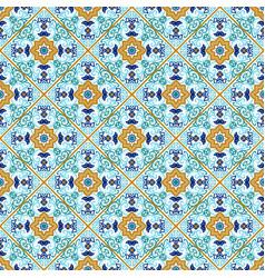 Talavera tile vibrant mexican seamless pattern vector