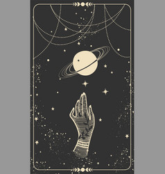 Tarot card with hand and planet magic card boho vector
