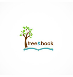 Tree and book logo vector