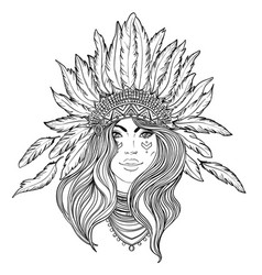 Tribal fusion boho diva black and white vector