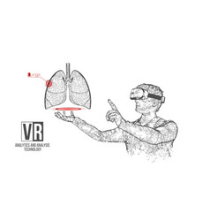 Vr wireframe headset man with lung banner vector