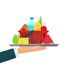 waiter hand with tray grocery food vector image