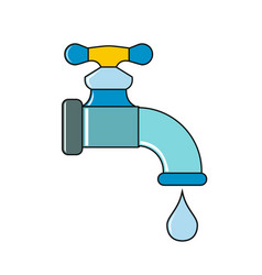 Water tap with drop on white background vector