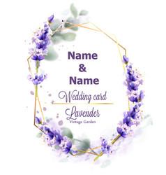Wedding card lavender wreath watercolor delicate vector