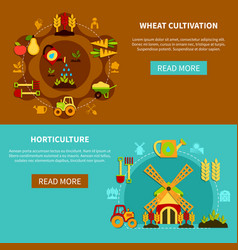 wheat cultivation banners collection vector image