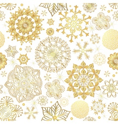 Winter seamless pattern with gold snowflakes vector image