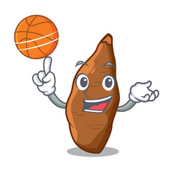 With basketball character cassava in the market vector