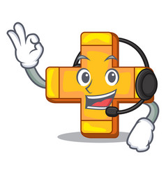 with headphone plus sign isolated on the mascot vector image