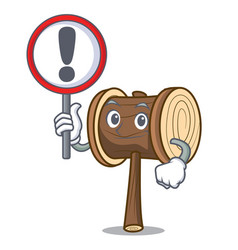 With sign mallet character cartoon style vector