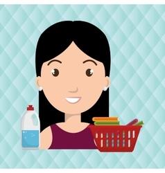 womna cartoon basket clothes detergent vector image
