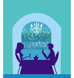 Young couple flirt and drink champagne - vector