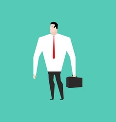 businessman in white shirt and with suitcase vector image vector image