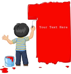 Cute little boy painting the wall with red color vector image