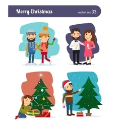 Merry Christmas Characters vector image