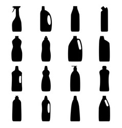 set of bottle silhouettes of cleaning products vector image