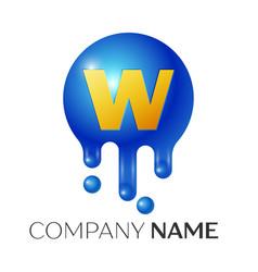 W letter splash logo blue dots and bubbles letter vector
