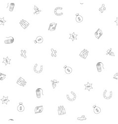 cowboy hand drawn seamless pattern background vector image
