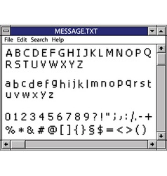 Nostalgic window including full pixel font vector
