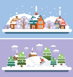 Winter village landscapes vector image vector image
