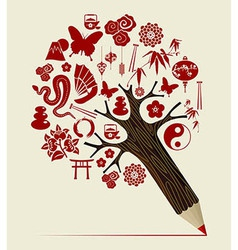 China tradition concept pencil tree vector image vector image