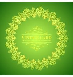 Golden leaf lace on green background vector image