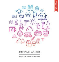 Set of Camping Modern Flat Thin Icons Inscribed in vector image