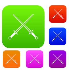 swords set collection vector image vector image