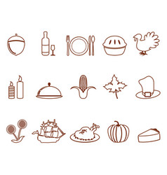 thanksgiving outline icons set vector image vector image