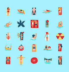 beach people funny flat icons collection vector image
