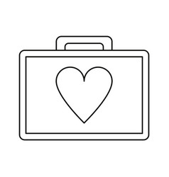 first aid kit emergency heart care thin line vector image