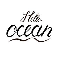 modern brush inscription hello ocean vector image