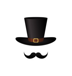mustache and hat cylinder vector image