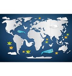 Paper World Map with Fish Birds and Boats vector image