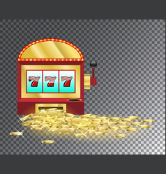 slot machine with a pile of gold coins vector image vector image