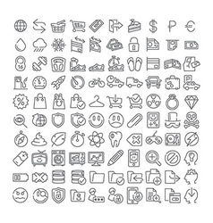 100 line icons vector