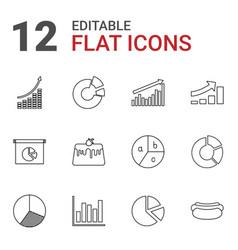 12 pie icons vector image