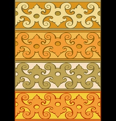 2 Set of decorative borders vintage style gold vector image