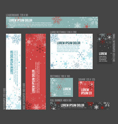 8 standard size winter christmas banner templates vector