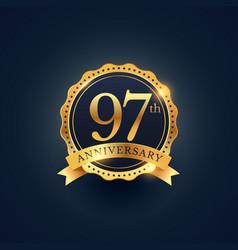 97th anniversary celebration badge label vector
