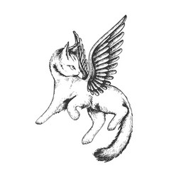 angel flying kitten engraving vector image