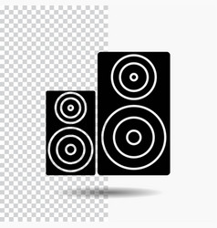 Audio hifi monitor speaker studio glyph icon on vector