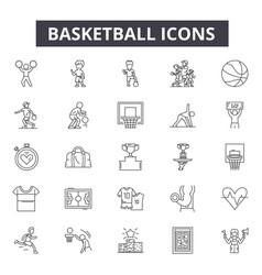 basketball line icons for web and mobile design vector image