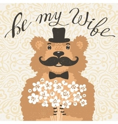 Be my wife Hipster bear with an offer of marriage vector image