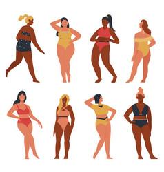 Bikini woman poses set cartoon happy plus size vector