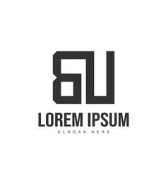 bu letter logo design initial letter logo template vector image